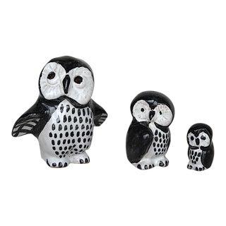 Danish Pottery Miniature Owl Figurines - Set of 3 For Sale