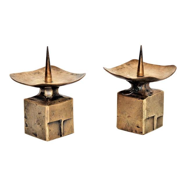 Weiland Basel Switzerland Brutalist Brass Candle Holders - a Pair- Mid Century Scandinavian Modern Candlesticks Millennial - Image 1 of 11