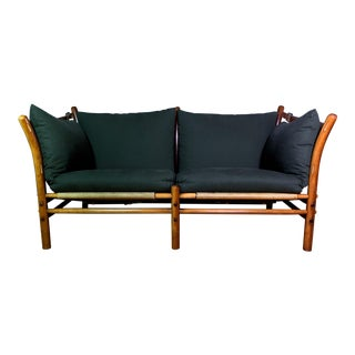 "1970s Vintage Arne Norell ""Ilona"" Leather and Cotton Sofa For Sale"