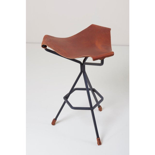 Mid-Century Modern Set of Three Bar Stools by Dan Wenger, Us For Sale - Image 3 of 8