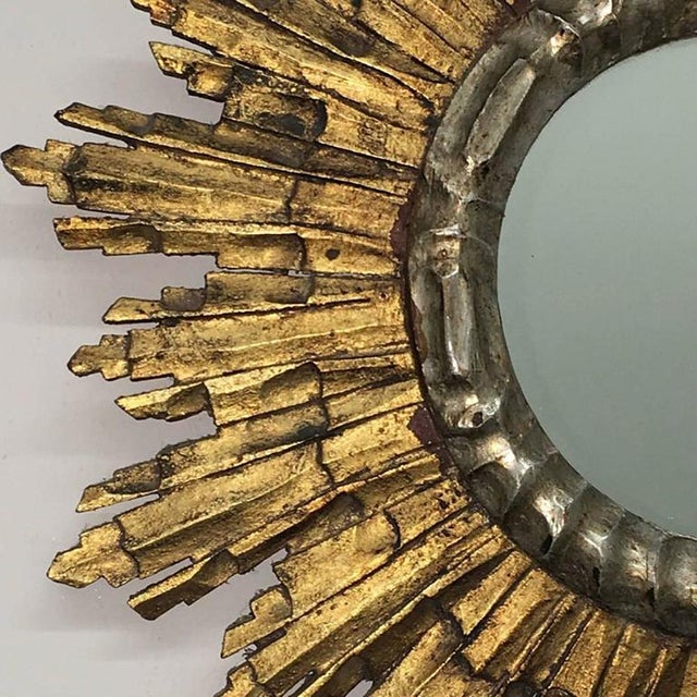 French Vintage Mid-Century French Giltwood Sunburst Mirror For Sale - Image 3 of 7