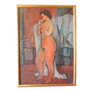Original Signed/Dated Vintage Mid Century Modern Nude Oil On Canvas-Listed American Artist-1955 For Sale