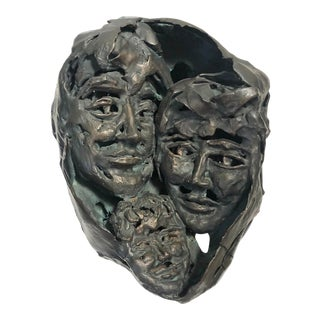 """1950s """"Family Portrait"""" Brutalist Style Abstract Bronze Sculpture For Sale"""