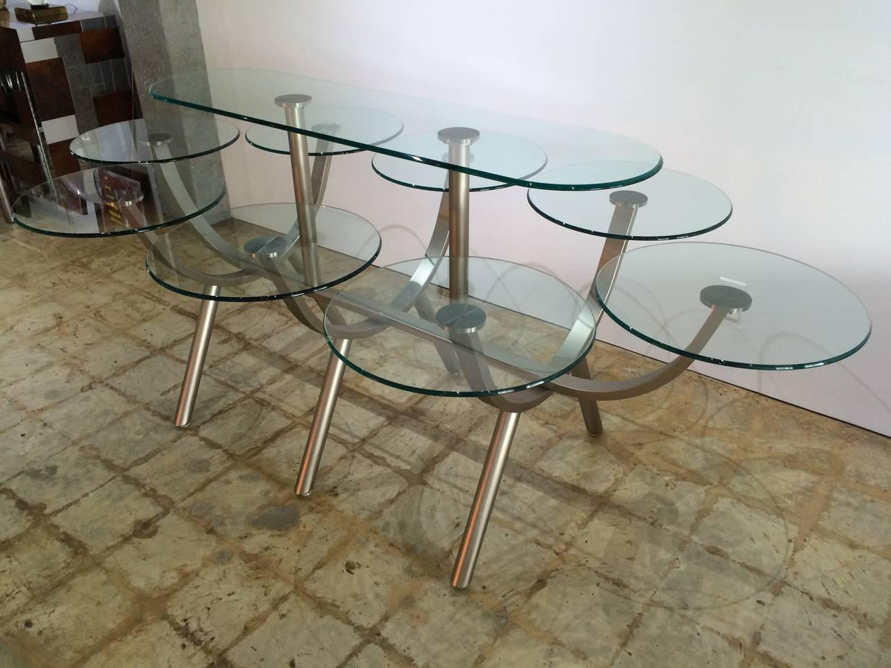 DIA Glass U0026 Steel Dinner For Eight Table For Sale In Miami   Image 6 Of