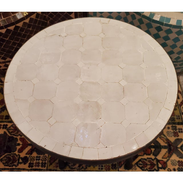 Moroccan Moroccan White Mosaic Side Table For Sale - Image 3 of 7