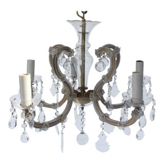Small Antique Maria Theresa Chandelier With Murano Glass Balls For Sale
