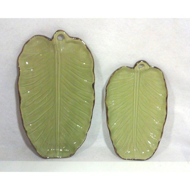 Tropical Banana Leaf Ceramic Platters - A Pair - Image 4 of 5