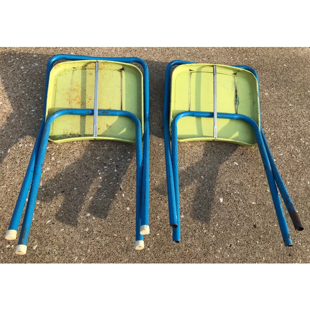 Blue Vintage Children's Metal Folding Chairs - a Pair For Sale - Image 8 of 11