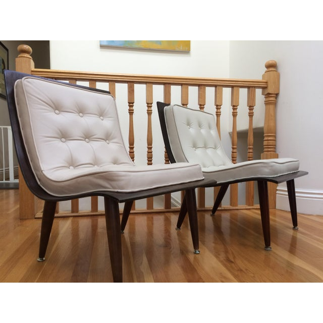 Mid-Century Modern Mid-Century Carter Scoop Chairs - Pair For Sale - Image 3 of 8
