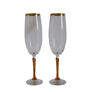 Vintage Gold-Rimmed Champagne Flutes - A Pair