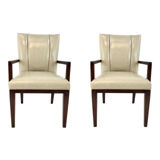 Barbara Barry for Henredon Paley Cream Leather Chairs Pair For Sale