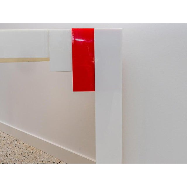 Art Deco Lucite Console Table Red and White 1970s Art Deco Revival For Sale - Image 3 of 13