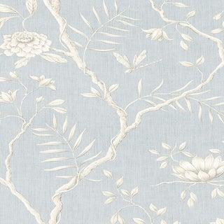 Lewis & Wood Jasper Peony Ciel Botanic Wallpaper Sample For Sale