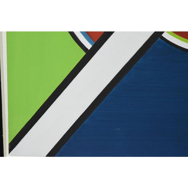 Acrylic early 20th Century Mondrian Style Geometric Acrylic Painting For Sale - Image 7 of 8