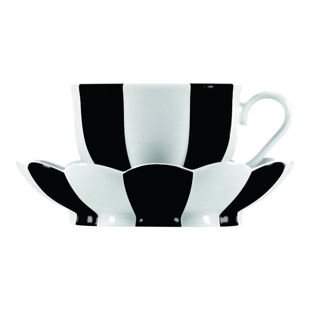 """Melon"" Mocha Cup with Saucer by Josef Hoffmann Black For Sale"