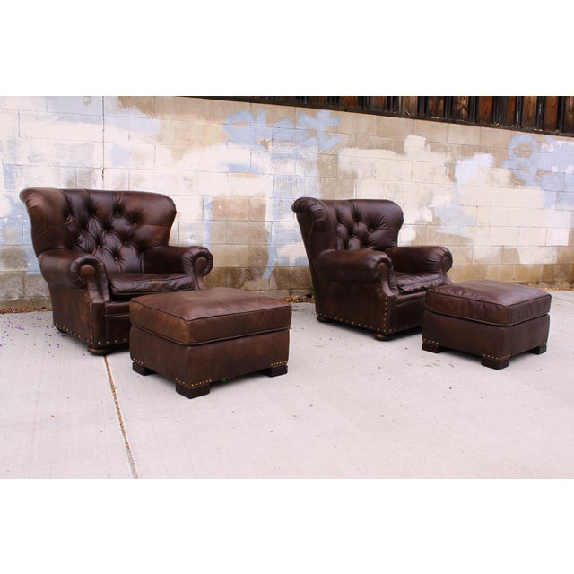 Restoration Hardware Club Chairs & Ottomans - A Pair - Image 4 of 11
