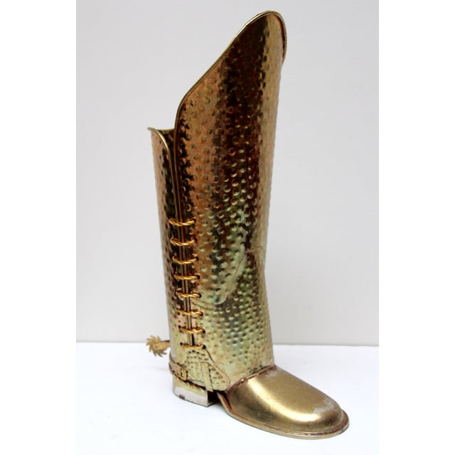 Brass Cowboy Boot Umbrella Stand - Image 2 of 8