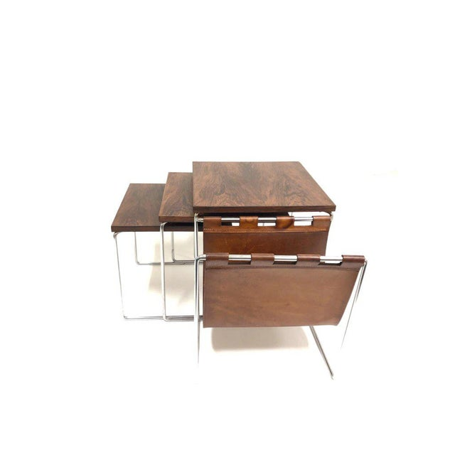 Rosewood and Chrome Nesting Tables - Set of 3 For Sale In Palm Springs - Image 6 of 8
