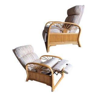 Boho Chic Bamboo Rattan Recliner Chair For Sale