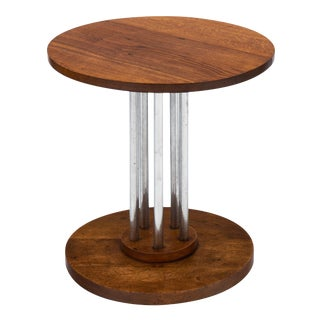 French Architectural Oak on Chromed Steel Tubes Gueridon Table For Sale