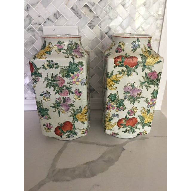 1970's Oriental Exotic Fruit Painted Vases - a Pair For Sale - Image 9 of 13