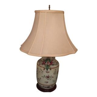 Floral Accent Porcelain Lamp For Sale