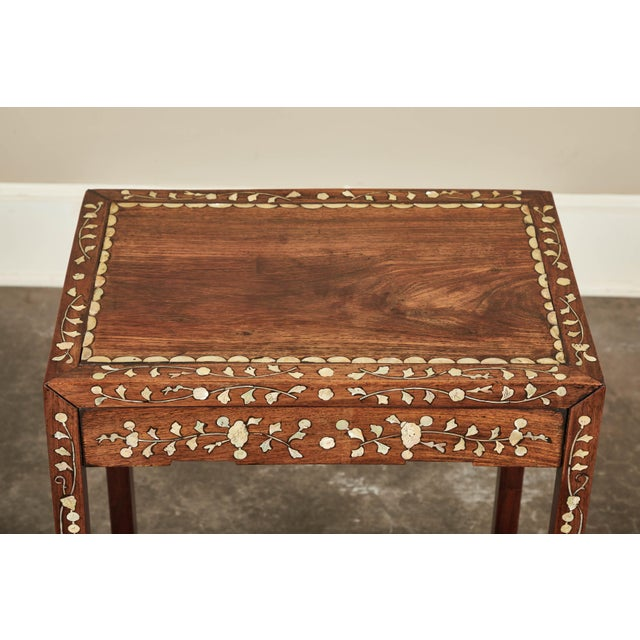 Wood 19th C. Side Table With Mother-Of-Pearl Inlay For Sale - Image 7 of 8