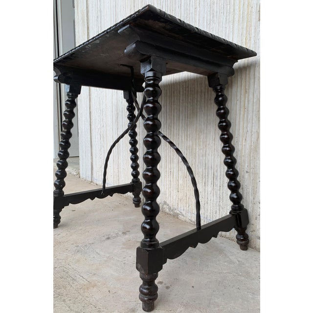 Late 19th Century 19th Spanish Baroque Side Table With Iron Stretcher and Carved Top in Walnut For Sale - Image 5 of 12
