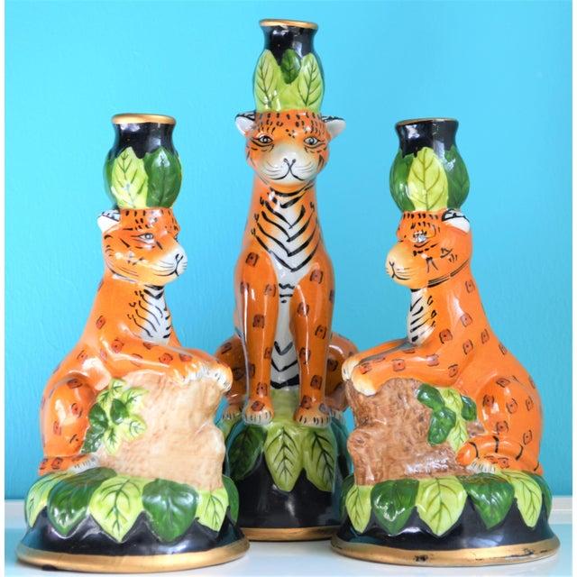Ceramic Vintage Palm Beach Regency Leopard Candle Holders- Set of 3 For Sale - Image 7 of 9