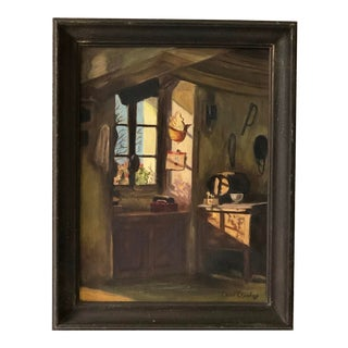 """Provençial Interior Painting by D. Crawford Titled """"A Peasant's House in France"""" For Sale"""