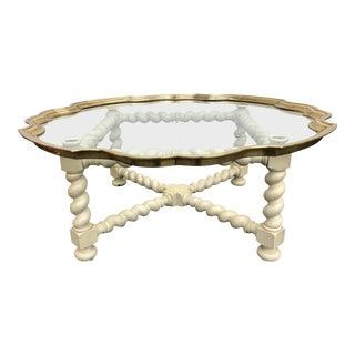 1990s Regency Baker Furniture Scalloped Brass & Glass Coffee Table For Sale