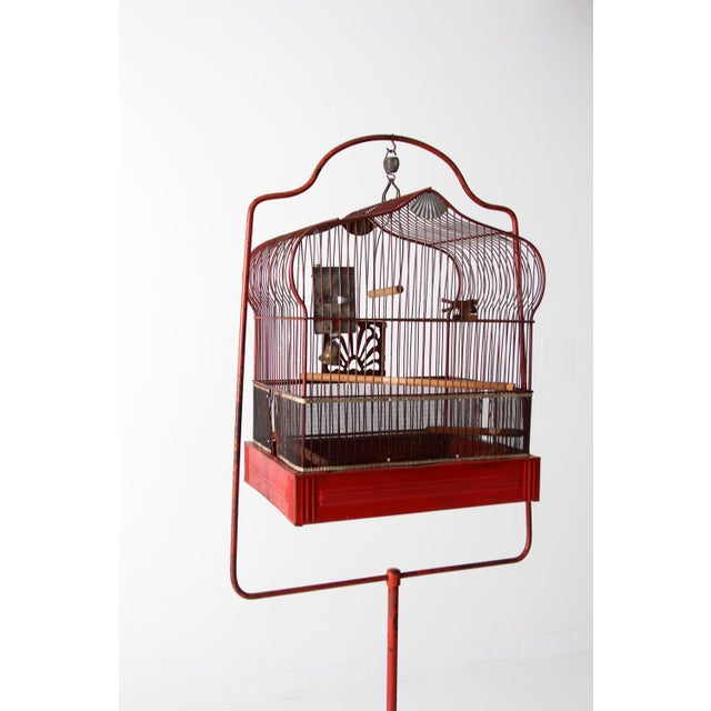 Metal Antique Crown Bird Cage With Stand For Sale - Image 7 of 10
