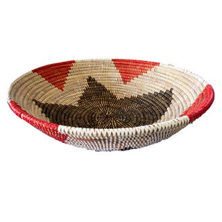 "Handmade Woven Wolof Basket From Senegal 17"" in Diameter For Sale"
