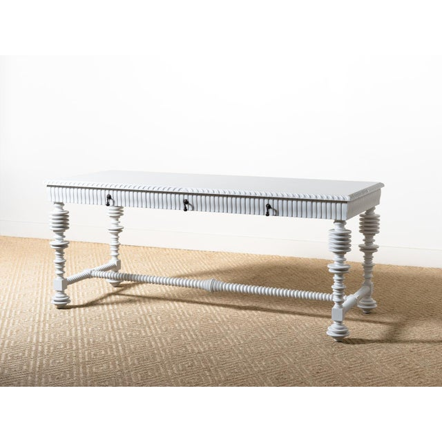Modern Spool Turned Portugese Desk For Sale - Image 6 of 6