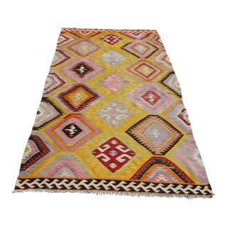 Vintage Turkish Kilim Rug - 5′6″ × 10′2″ For Sale
