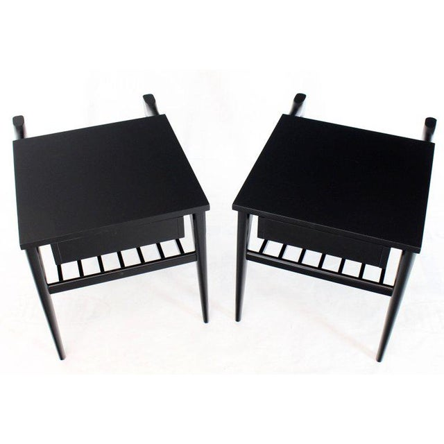 Pair of Black Ebonised One Drawer End Nightstands With Magazine Rack Sculptural For Sale - Image 11 of 13