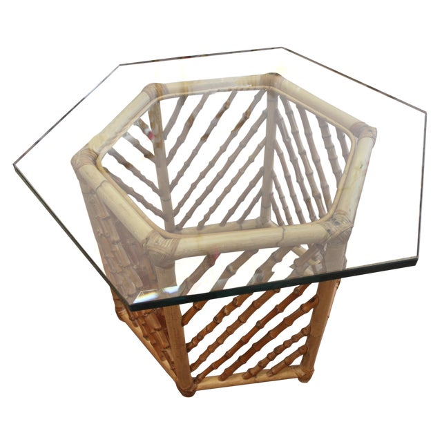 Bamboo Glass Top Table - Image 1 of 5