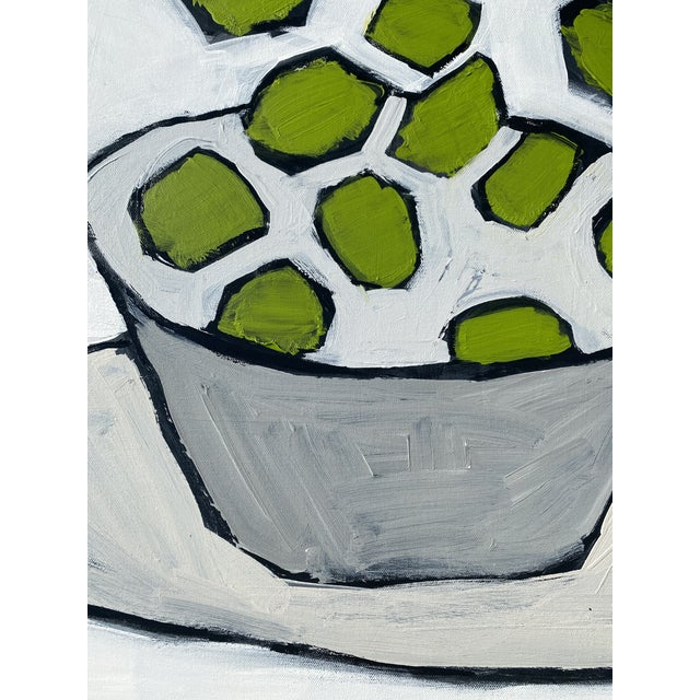 """Contemporary """"Limes"""" Contemporary Abstract Still Life Acrylic Painting by Sarah Trundle For Sale - Image 3 of 4"""