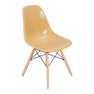 Straw Mustard Eames Fiberglass Shellchair on Maple Dowel Base For Sale