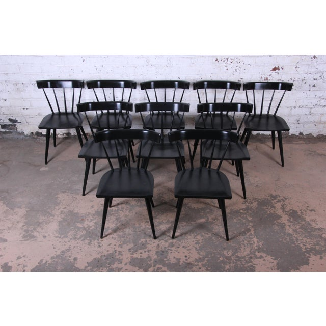 Contemporary Paul McCobb Ebonized Planner Group Dining Chairs - Set of 10 For Sale - Image 3 of 13