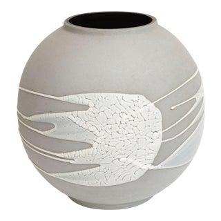 1980s Haeger Gray, Black and White Textural Ceramic Vase, Vessel or Planter For Sale