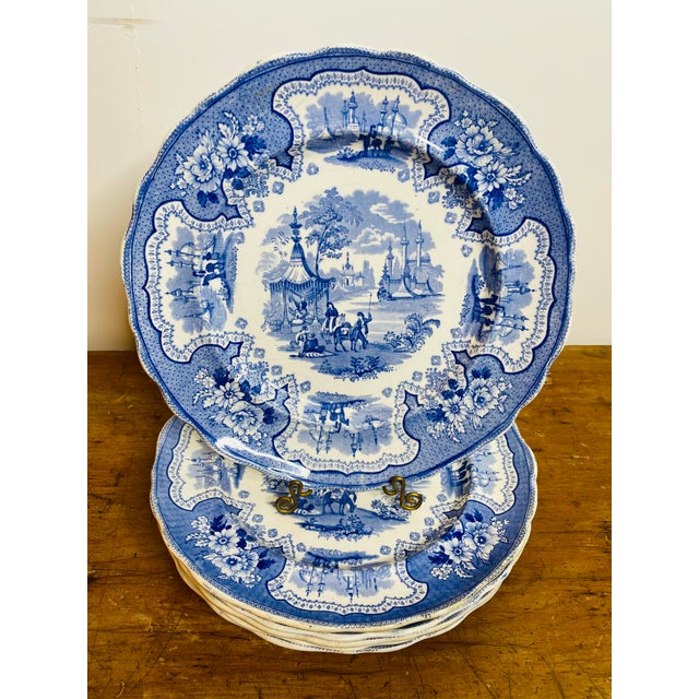 """Hard to find matching set of 6 antique Staffordshire dinner plates in the highly collectible """"Palestine"""" pattern made by..."""