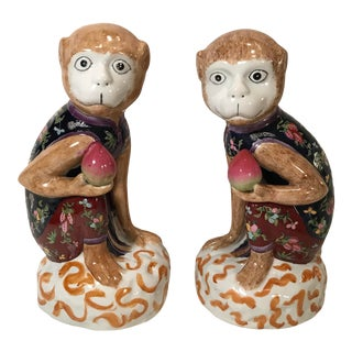 Vintage Ceramic Monkey Bookends Figurines - a Pair For Sale