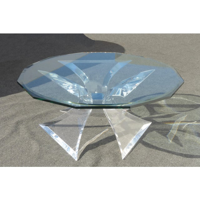 Designer Signed Lion in Frost Triple Butterfly Lucite and Glass Coffee Table For Sale - Image 13 of 13