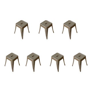 French 20th Century, Set of Seven Stackable Metal Air Force Stools For Sale