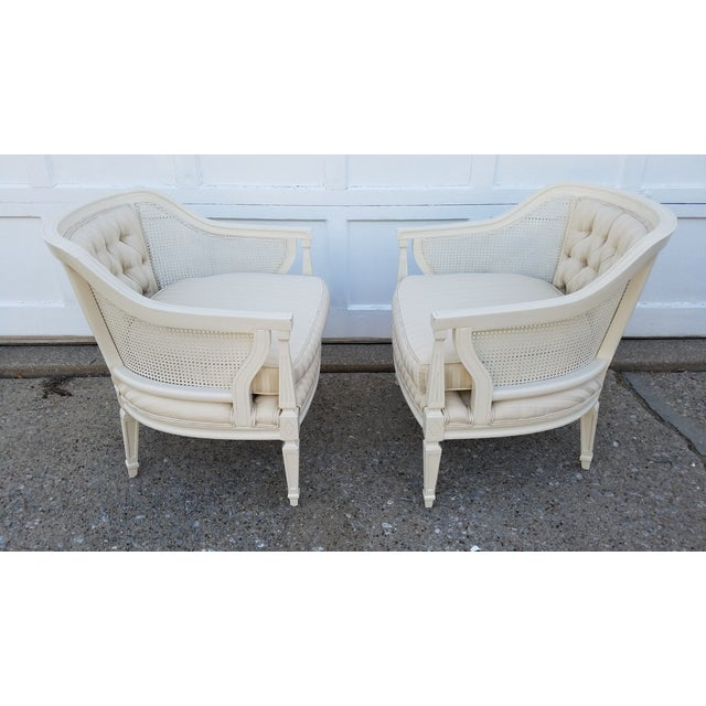 Off-White Cane Back Barrel Chairs - A Pair - Image 3 of 7