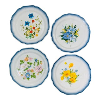 1970s Mikasa Mismatched Country Club Dinner Plates - Set of 4 For Sale