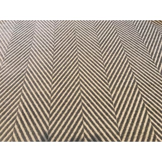 "Opuzen ""Herring"" Chenille Herringbone White Grey Fabric For Sale"