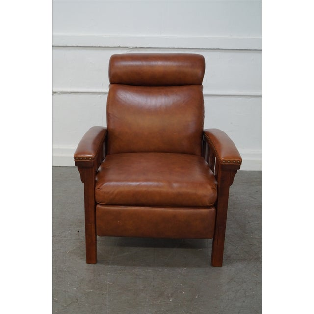 Mission Oak Leather Recliner Lounge Chair - Image 2 of 10