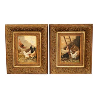 Pair of 19th Century Oil on Board Framed Chicken Paintings Signed E. Coppenolle For Sale
